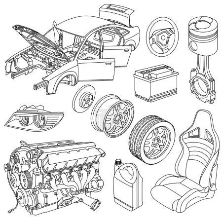 Illustration pour Icônes de pièces de voiture vecteur isométrique - image libre de droit