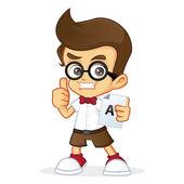 Nerd Geek holding a paper