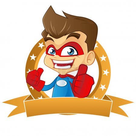 Super hero giving thumbs up in top brand frame