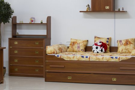 Photo for Wooden furniture in the nursery. - Royalty Free Image
