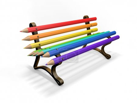 Photo for Pencil bench isolated on white background - Royalty Free Image