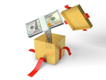 Photo pour La pile d'argent saute d'une boîte cadeau sur un ressort - image libre de droit