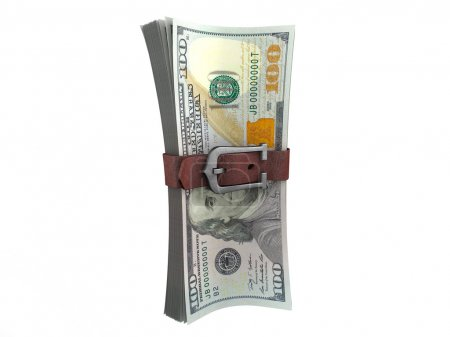 Belted stack of dollars banknotes