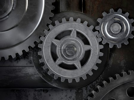 Gears on dark background. Abstract 3d illustration of gears.