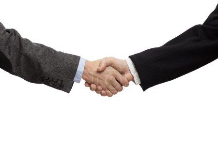 Photo pour Hommes d'affaires se serrant la main, isolé sur blanc. Closeup - image libre de droit
