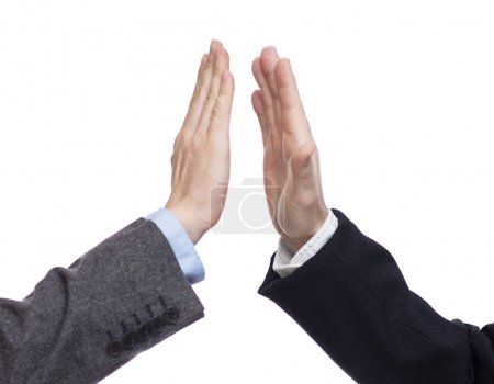 Photo for Successful business people giving high five closing a deal - Royalty Free Image