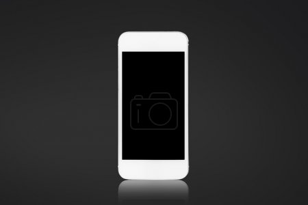 White smartphone on a black background