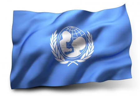 Photo pour Waving flag of UNICEF isolated on white background - image libre de droit