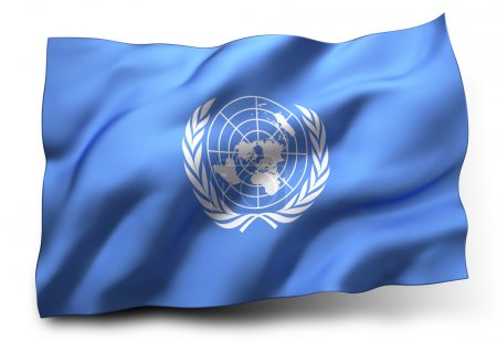 Photo pour Waving flag of United Nations isolated on white background - image libre de droit