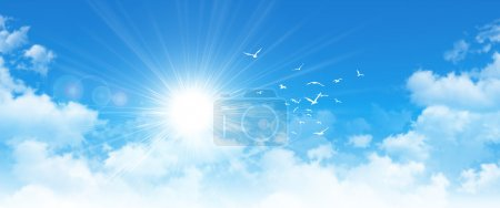 Photo for High resolution blue sky background. Sun and birds breaking through white clouds - Royalty Free Image