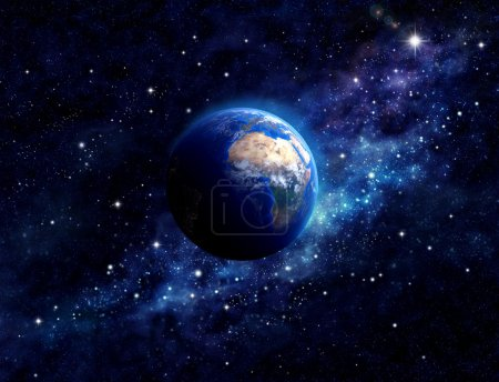 Photo for Imaginary view of planet earth in a star field. Elements of this image furnished by NASA - Royalty Free Image