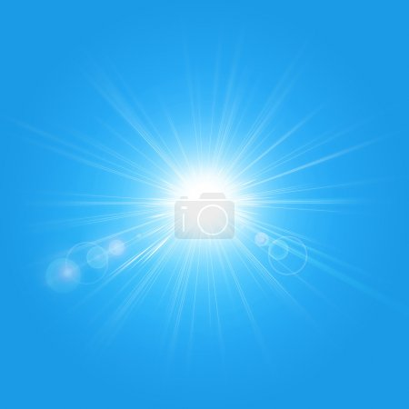 Photo for Illustration of the sun isolated on a blue background - Royalty Free Image