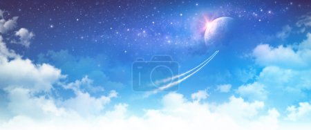 Photo for Spacecrafts breaking through the clouds toward deep space - Royalty Free Image