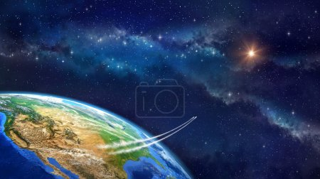 Photo for Very high definition picture of planet earth in outer space. Spacecrafts lifting off from USA soil. Elements of this image furnished by NASA - Royalty Free Image