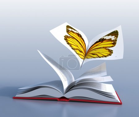 Photo for Red hardcover book open in its middle, as the wings of a butterfly - Royalty Free Image