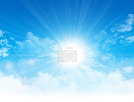 Photo pour Lumière de soleil se brisant par des nuages blancs dans le ciel bleu - image libre de droit