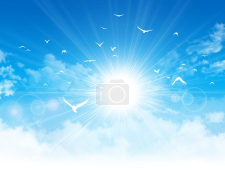 Photo for White birds flight in front of the sunshine in a cloudy blue sky - Royalty Free Image