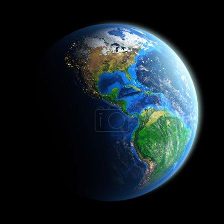 Photo pour Image détaillée de la Terre, vue du continent américain. Éléments de cette image fournis par la Nasa - image libre de droit