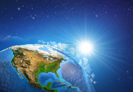 Photo for Rising sun over the Earth and its landforms, view of the United States of America. Elements of this image furnished by NASA - Royalty Free Image