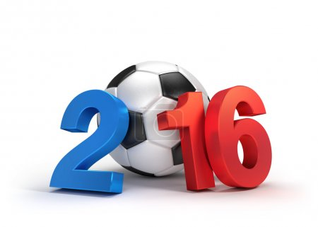 Photo for 2016 year illustrated with a classic soccer ball, French flag colored, isolated on white - Royalty Free Image