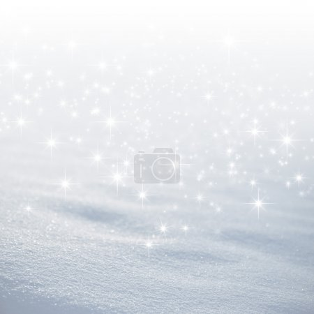 Photo pour Fond de neige lumineux avec des lumières étoiles pleuvent - image libre de droit