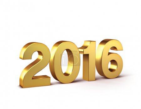 Photo for 3D New Year gold 2016 isolated on white - Royalty Free Image