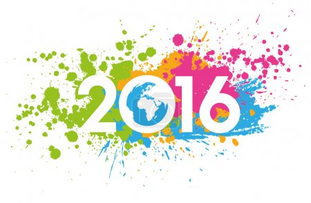 Photo for New Year 2016 date on colorful paint stains with the world map - Royalty Free Image