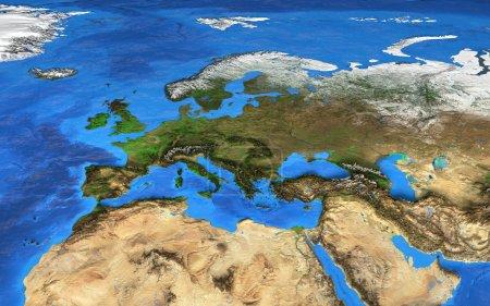 Photo pour Vue satellite de la terre et de ses reliefs en détail. Éléments de cette image fournie par la Nasa - image libre de droit