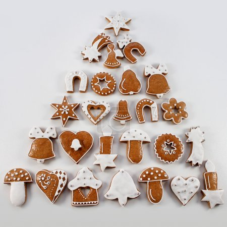 Christmas gingerbread handmade  in the form of a Christmas tree