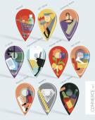 Flat set of ten map pins