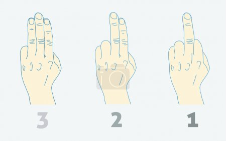 Illustration for Three step countdown with middle finger. Light colors. - Royalty Free Image