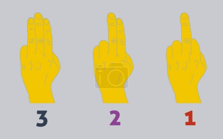 Illustration for Three step countdown with middle finger. Heavy colors. - Royalty Free Image
