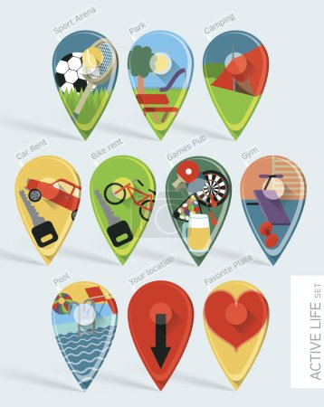 Wonderfully designed flat set of ten map pins
