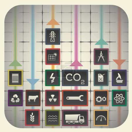 Graph background including industry symbols