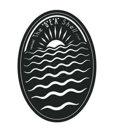 Illustration for Badge concept:The Sea Shell - Royalty Free Image