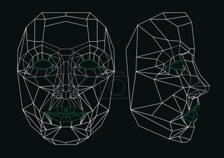 Illustration for Robot face line art: front and side. - Royalty Free Image
