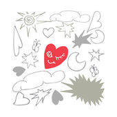 Whimsical set of Valentine's Day elements