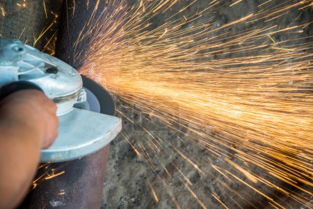 Locksmith's workshop. Angle grinder.