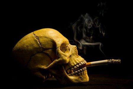 Human skull smoking a cigarette