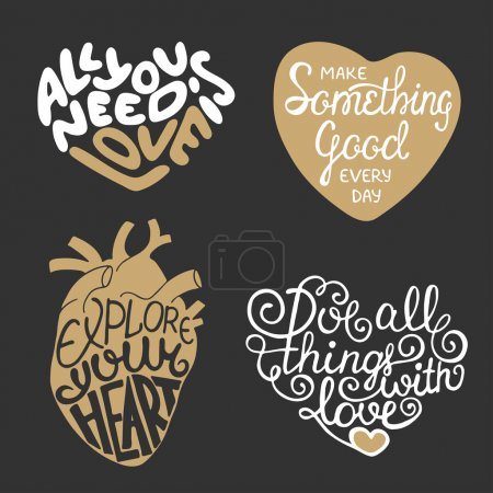 Set of vector hand drawn typography