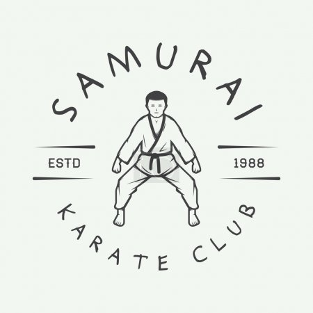 Vintage karate or martial arts logo, emblem, badge, label and design elements.