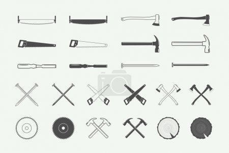 Set of vintage carpentry and mechanic labels, emblems, logo
