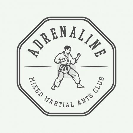 Vintage karate or martial arts logo, emblem, badge, label