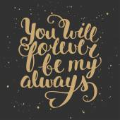Nabídka vás bude navždy moje vždy. Ručně psané písmo
