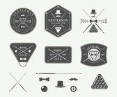 Set of vintage billiard labels emblems and logos Graphic Art