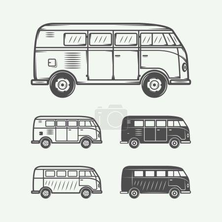 Set of vintage retro vans cars. Graphic art.