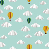 Vector paper seamless pattern with clouds and hot air balloons