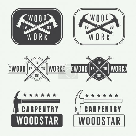 Set of vintage carpentry labels, emblems and logo