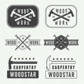 Set of vintage carpentry vector labels emblems and logo