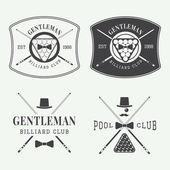 Set of vintage billiard labels emblems and logos